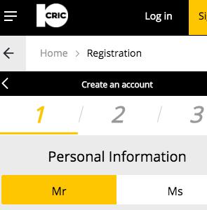 Registration 10Cric India