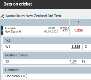 Melbet aus v nz 3rd test odds